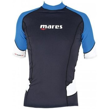 Mares Rash Guard Trilastic Shortleeve, Black/Blue/White, S