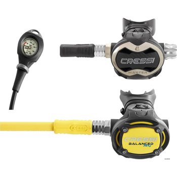 Cressi T10 SC/Master Regulator + Octopus MG Balanced + Mares Mission 1 painemittari
